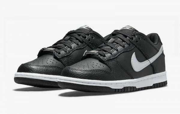 2021 New Nike Dunk Low GS Black/Metallic Silver-White DC9560-001