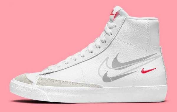 "2021 New Nike Blazer Mid GS ""Multi Swoosh"" DO6487-100 Simple yet classic!"